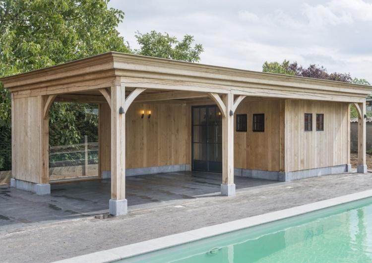 cottage tuinhuis met plat dak tuinhuizen met plat dak poolhouse in cottage stijl maatwerk west vlaanderen realisaties wood arts