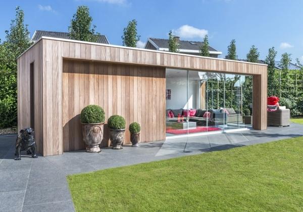Wood arts moderne houten bijgebouwen poolhouses tuinhuizen